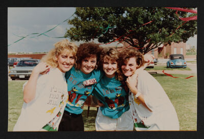 Four Gamma Rho Chapter Members on Bid Day Photograph, August 1989