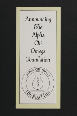 Announcing the Alpha Chi Omega Foundation Brochure, 1979