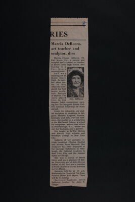 Marcia DeRocco, Art Teacher and Sculptor, Dies Newspaper Clipping, c. June 23, 1987