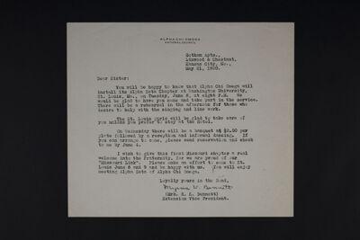 Myrna V. Bennett to Sister Letter, May 21, 1920