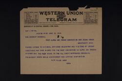 Alta Allen Loud to Mrs. Herbert Marshall Telegram, June 22, 1924