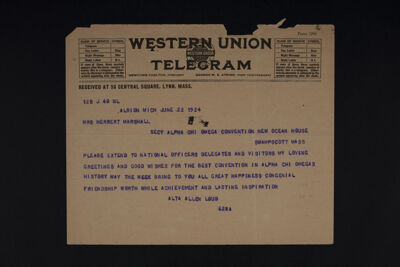 Alta Allen Loud to Mrs. Herbert Marshall Telegram, June 22, 1924