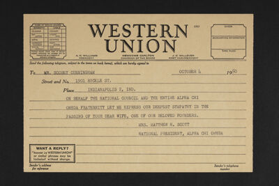 Mrs. Matthew H. Scott to Scobey Cunningham Telegram, October 4, 1950