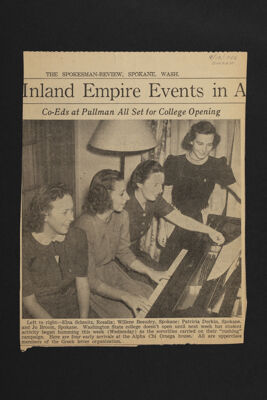 Co-Eds at Pullman All Set for College Opening Clipping, September 13, 1940