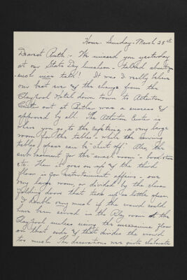 Olive Clark to Ruth Suppes Letter, March 28