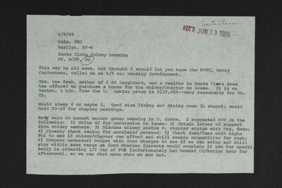 Santa Clara Prospective Chapter Housing Memo, June 9, 1985
