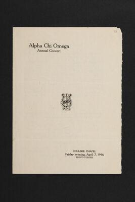 Alpha Chi Omega Annual Concert, April 7, 1916