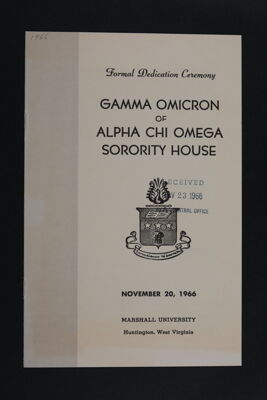 Gamma Omicron Chapter House Formal Dedication Ceremony, November 20, 1966