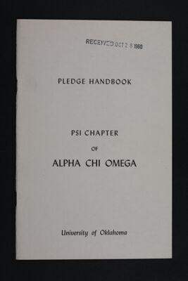 Psi Chapter Pledge Handbook, c. 1960