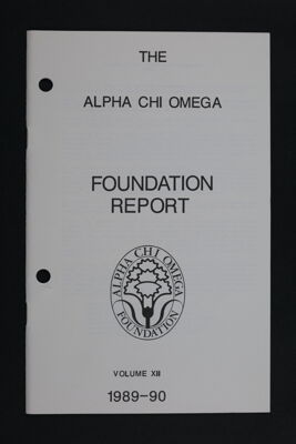 Alpha Chi Omega Foundation Report, Volume XII, 1989-90