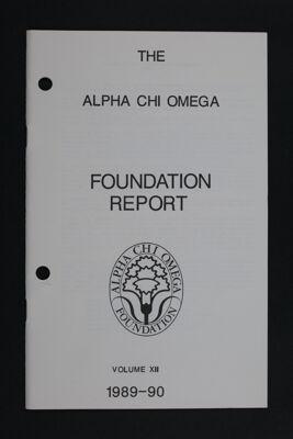 Alpha Chi Omega Foundation Report, Volume XII, 1989-90