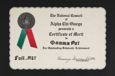 Certificate of Merit for Outstanding Scholastic Achievement, Fall 1967