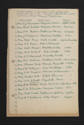 Charter Members of the DuPage County Alumnae Club Signatures List, April 20, 1937