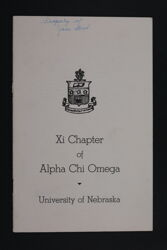 Xi Chapter of Alpha Chi Omega Potential New Member Booklet, 1939