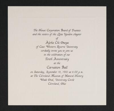 Zeta Upsilon Chapter 10th Anniversary Carnation Ball Invitation, 1993
