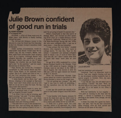 Julie Brown Confident of Good Run in Trials Newspaper Clipping, c. 1983