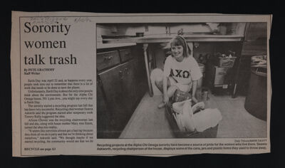 Sorority Women Talk Trash Newspaper Clipping, May 15, 1992