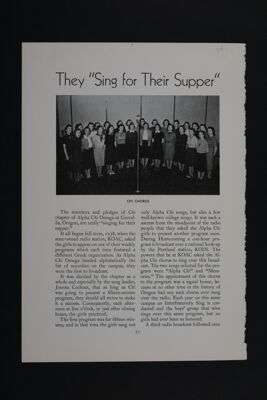 They 'Sing for Their Supper' Magazine Clipping, November 1939