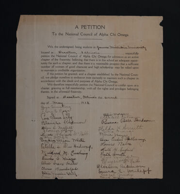 A Petition to the National Council of Alpha Chi Omega - Millikin University, May 2, 1913