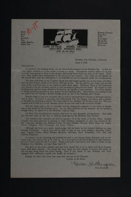 Gwen Witherspoon to Alumnae Letter, April 9, 1924