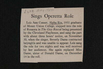 Sings Operetta Role Magazine Clipping, May 1952