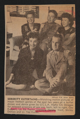 Sorority Entertains Newspaper Clipping, c. 1944-46