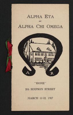 Alpha Eta Chapter House Dedication Program, March 11-12, 1927