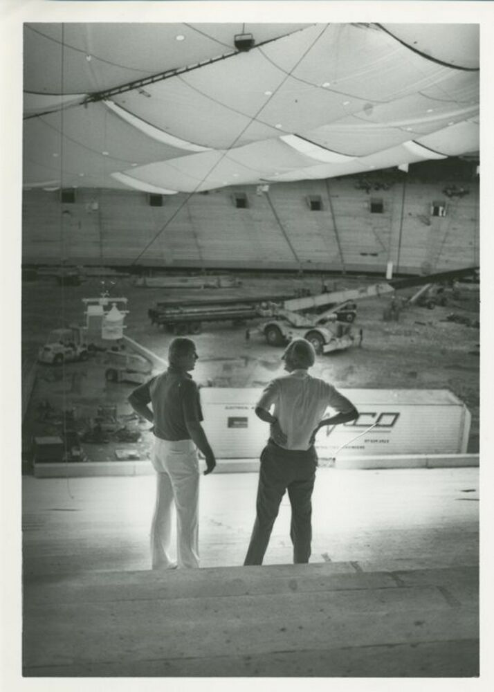 Mayor Hudnut Inside Hoosier Dome During Construction, c. November 1984