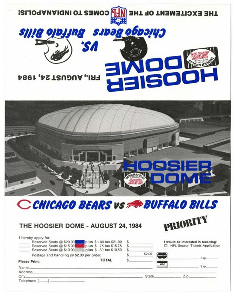 Ticket Application, Inaugural NFL Football Game at the Hoosier Dome: Chicago Bears versus Buffalo Bills on August 24, 1984
