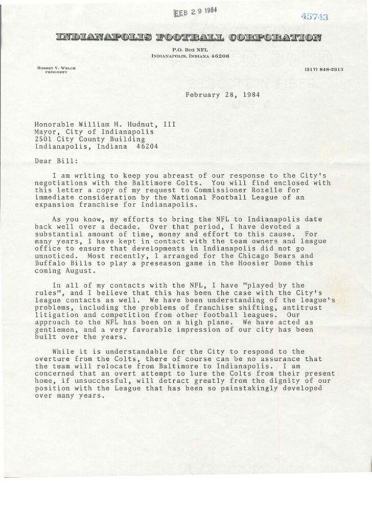 Robert V. Welch to Mayor Hudnut, February 28, 1984