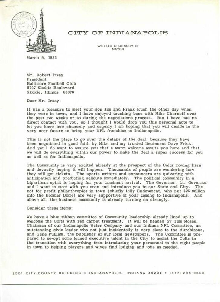 Mayor Hudnut to Robert Irsay, March 9, 1984