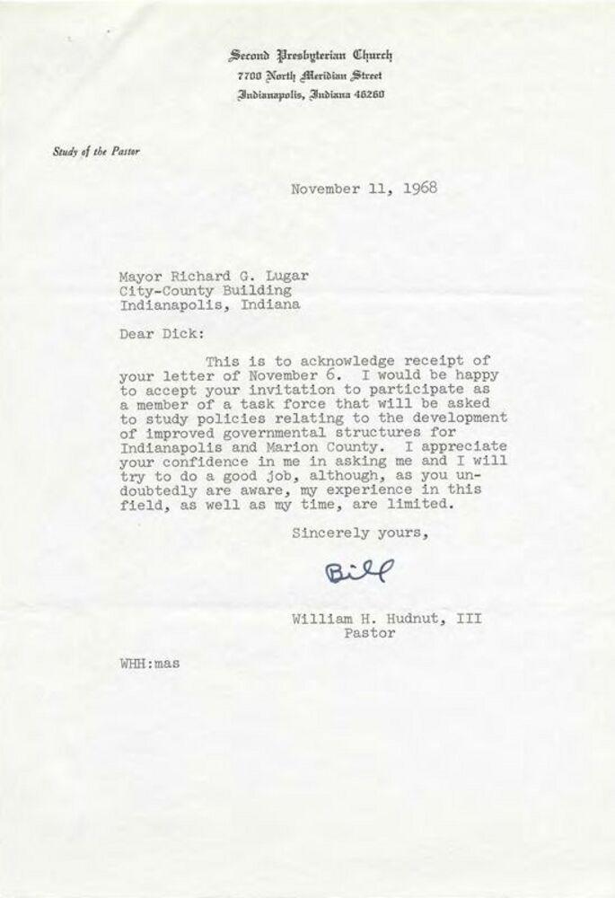 William Hudnut Accepts Mayor Lugar's Appointment, November 1968