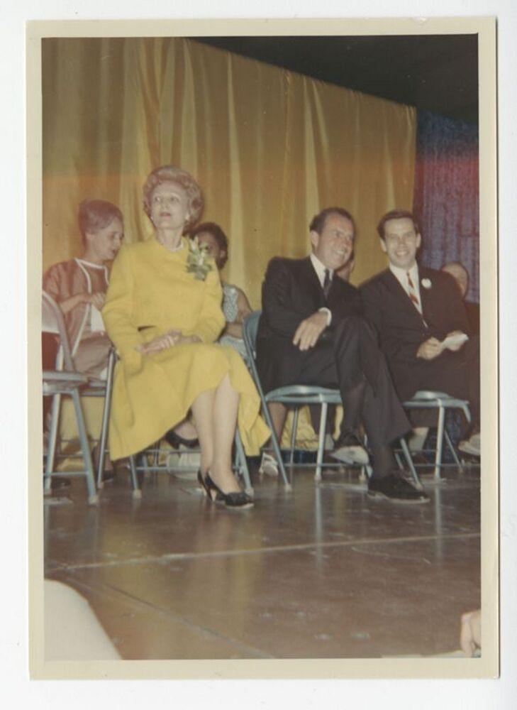 Pat Nixon, Richard Nixon, and Richard Lugar at 1968 Campaign Rally