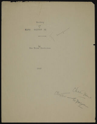 """""""The History of Alpha Omicron Pi"""" Typed Pages, 1923"""