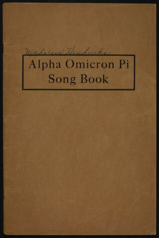 Alpha Omicron Pi Song Book, 1921